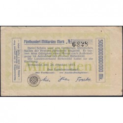 Birkenfeld - Oldenburg - Pick non réf. - 500 milliards mark - 26/10/1923 - Etat : TTB-