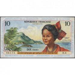 Antilles Françaises - Pick 8b - 10 francs - Série N.6 - 1966 - Etat : TB+