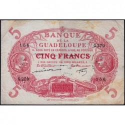 Guadeloupe - Pick 7q - 5 francs - Série G.279 - 1944 - Etat : TB