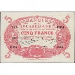 Guadeloupe - Pick 7s - 5 francs - Série K.354 - Avec filigrane - 1945 - Etat : TTB