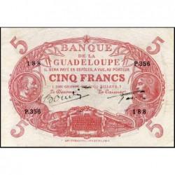 Guadeloupe - Pick 7s - 5 francs - Série P.356 - Avec filigrane - 1945 - Etat : TTB