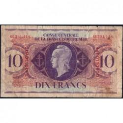 Guadeloupe - France Outre-Mer - Pick 27 - 10 francs - Série GE - 1944 - Etat : TB-