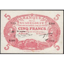 Guadeloupe - Pick 7s - 5 francs - Série U.356 - Avec filigrane - 1945 - Etat : TTB+