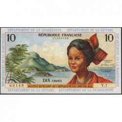 Antilles Françaises - Pick 8b - 10 francs - Série Y.7 - 1966 - Etat : NEUF