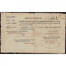 Guyane - Cayenne - Pick A4 - 20 livres - 1794 - Etat : TTB
