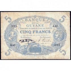 Guyane Française - Pick 1h - 5 francs - Série G.41 - 1942 - Etat : TB