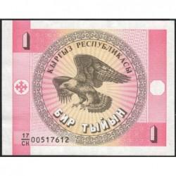 Kirghizistan - Pick 1a - 1 tyiyn - série CH - 1993 - Etat : NEUF