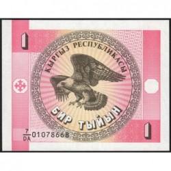 Kirghizistan - Pick 1a - 1 tyiyn - série DA - 1993 - Etat : NEUF