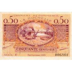 La Rochelle - Pirot 66-7 - 50 centimes - Série E - 09/1920 - Etat : TTB