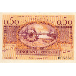 La Rochelle - Pirot 66-7-E - 50 centimes - 1920  - Etat : TTB