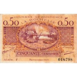 La Rochelle - Pirot 66-7 - 50 centimes - Série F - 09/1920 - Etat : TB