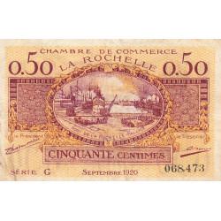 La Rochelle - Pirot 66-7 - 50 centimes - Série G - 09/1920 - Etat : TB+
