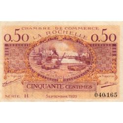 La Rochelle - Pirot 66-7 - 50 centimes - Série H - 09/1920 - Etat : TB+