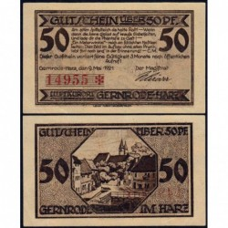 Allemagne - Notgeld - Gernrode - 50 pfennig - 09/05/1921 - Etat : SPL