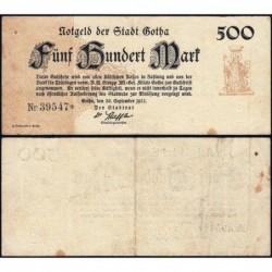 Allemagne - Notgeld - Gotha - 500 mark - Type 2 - 30/09/1922 - Etat : TB+