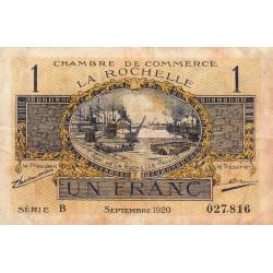 La Rochelle - Pirot 66-9 - 1 franc - Série B - 09/1920 - Etat : TB-