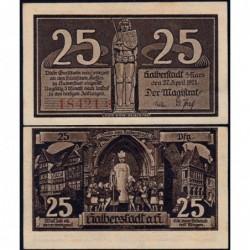Allemagne - Notgeld - Halberstadt - 25 pfennig - 27/04/1920 - Etat : NEUF
