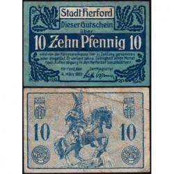 Allemagne - Notgeld - Herford - 10 pfennig - 04/03//1920 - Etat : TB