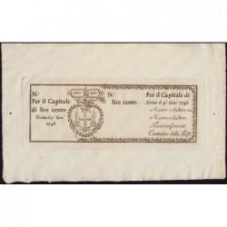 Royaume de Sardaigne - Pick S 101r - 100 lire - Janvier 1746 - Etat : pr.NEUF