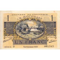 La Rochelle - Pirot 66-9 - Série F - 1 franc - 1920 - Etat : SUP