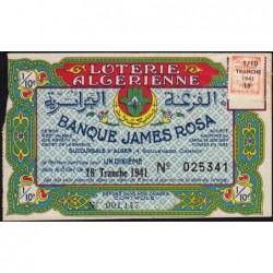 Algérie - Billet de loterie - 18e tranche - 1/10ème - 1941 - Etat : TB+