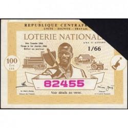 Centrafrique - Loterie - 100 francs  - 1e tranche - 1966 - Etat : SUP+