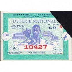 Centrafrique - Loterie - 100 francs  - 6e tranche - 1966 - Etat : SUP+