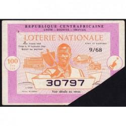 Centrafrique - Loterie - 100 francs  - 5e tranche - 1967 - Etat : TTB+