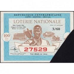 Centrafrique - Loterie - 100 francs  - 3e tranche - 1968 - Etat : SUP+