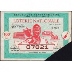 Centrafrique - Loterie - 100 francs  - 9e tranche - 1968 - Etat : TTB+