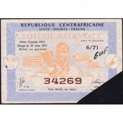 Centrafrique - Loterie - 100 francs  - 6e tranche - 1971 - Etat : TTB+