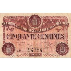 Laval (Mayenne) - Pirot 67-1 variété - 50 centimes - Série P - 1920 - Etat : TB+