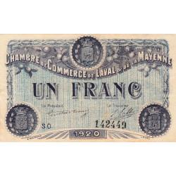Laval (Mayenne) - Pirot 67-2  - 1 franc - Série O - 1920 - Etat : SUP