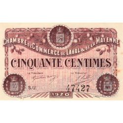 Laval (Mayenne) - Pirot 67-3 - 50 centimes - Série U - 1920 - Etat : SUP+