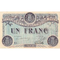 Laval (Mayenne) - Pirot 67-5 - Série E - 1 franc - 1920 - Etat : SUP+