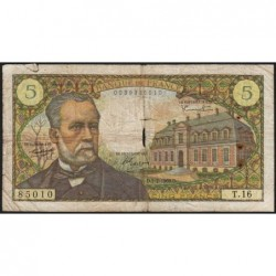 F 61-02 - 07/07/1966 - 5 francs - Pasteur - Série T.16 - Etat : B