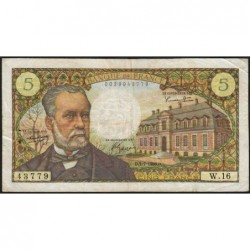 F 61-02 - 07/07/1966 - 5 francs - Pasteur - Série W.16 - Remplacement - Etat : TTB-