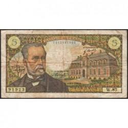 F 61-09 - 06/02/1969 - 5 francs - Pasteur - Série W.85 - Remplacement - Etat : TB