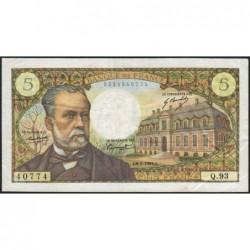 F 61-09 - 06/02/1969 - 5 francs - Pasteur - Série Q.93 - Etat : TTB
