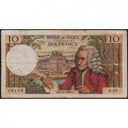 F 62-4 - 10/10/1963 - 10 francs - Voltaire - Série N.27 - Etat : TB-
