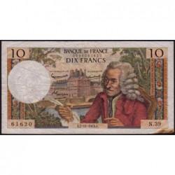 F 62-5 - 07/11/1963 - 10 francs - Voltaire - Série N.39 - Etat : TB