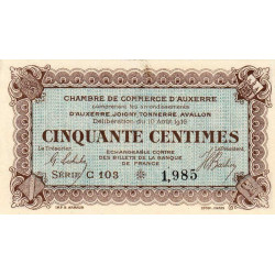 Auxerre - Pirot 17-11 - 50 centimes - Série C 103 - 10/08/1916 - Etat : SPL