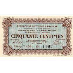 Auxerre - Pirot 17-11-C - 50 centimes - 1916 - Etat : SPL