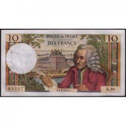 F 62-9 - 04/06/1964 - 10 francs - Voltaire - Série K.98 - Etat : SUP+