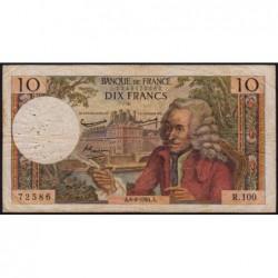 F 62-10 - 06/08/1964 - 10 francs - Voltaire - Série R.100 - Etat : TB-