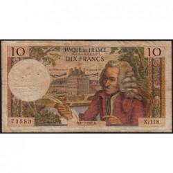 F 62-12 - 08/01/1965 - 10 francs - Voltaire - Série X.118 - Etat : B+
