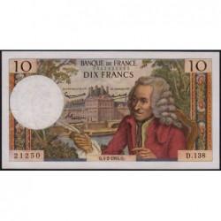 F 62-13 - 04/02/1965 - 10 francs - Voltaire - Série D.138 - Etat : TTB+
