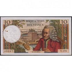 F 62-16 - 07/10/1965 - 10 francs - Voltaire - Série Y.175 - Etat : TB+