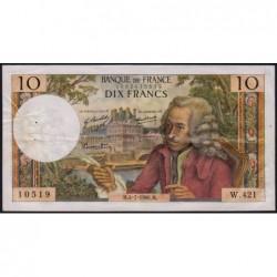 F 62-33 - 04/07/1968 - 10 francs - Voltaire - Série W.421 - Remplacement - Etat : TTB-