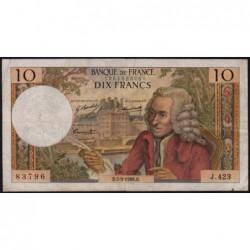 F 62-34 - 05/09/1968 - 10 francs - Voltaire - Série J.423 - Etat : TB